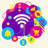 Wi fi on abstract colorful spotted background with different ico Royalty Free Stock Photography