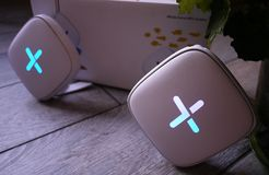 Wi-Fi adapter for home in a beautiful interior. Used to distribute the Internet at home stock photos