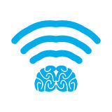 Wi-fi brain. WiFi mind. Wireless connection wiseacre. Passing th Stock Photography