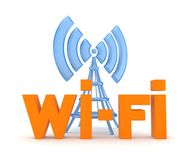 Wi-fi concept. Isolated on white.3d rendered Royalty Free Stock Image