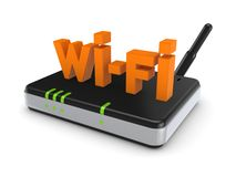Wi-fi concept. Isolated on white.3d rendered illustration Stock Photos