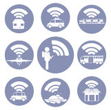 Wi-Fi connection everywhere icon pictograms royalty free illustration