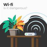 Wi-fi danger vector. Illustration. Harm of radio waves concept. Wifi router emitting signal, which makes green leaves of plant to fade yellow. Flat style Royalty Free Stock Photo