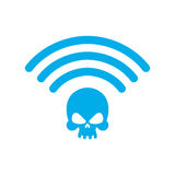 Wi-fi death. WiFi mortal. Wireless connection skull.. Passing doom. demise at distance Stock Photography