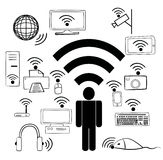 Wi Fi devices and people Royalty Free Stock Photography