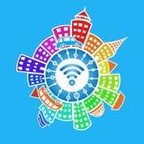 Wi-Fi en el mundo Ejemplo plano stock de ilustración