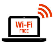 Wi-Fi free icon. Laptop with Wi-Fi label and symbol Royalty Free Stock Images