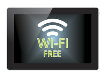 Wi fi free, tablet on white background Royalty Free Stock Photos