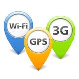 Wi-Fi, 3G ed icone di GPS Fotografie Stock Libere da Diritti