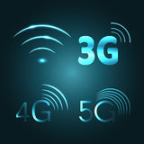 Wi Fi, 3G, 4G and 5G technology glow icon symbols. Vector Stock Photography