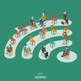 Wi-fi hotspot isometric flat vector concept. Royalty Free Stock Images