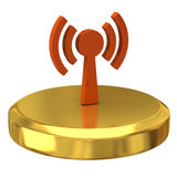 Wi-fi icon on gold podium Stock Image