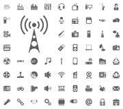 Wi-Fi icon. Media, Music and Communication vector illustration icon set. Set of universal icons. Set of 64 icons.  Royalty Free Stock Image