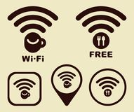 Wi-fi Icons for cafe and restaurants. Vector image Royalty Free Stock Photos