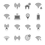 Wi-fi icons set. Wifi wireless local network internet connection access points icons set with antenna black abstract isolated vector illustration Royalty Free Stock Photo