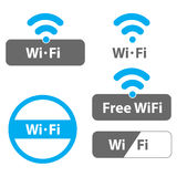 Wi-Fi illustrations. A set of Wi Fi and wireless LAN illustrations Stock Images