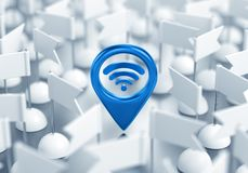Wi-Fi Location. 3D rendering graphic composition on the subject of `Wireless Technologies Royalty Free Stock Images