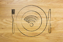 Wi-fi logo on plate with knife and fork, free connection. Restaurants with free wi-fi concept: plate with knife and fork and connection logo on it Royalty Free Stock Photo