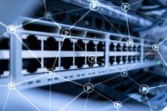 Wi fi network abstract structure on modern server room background.  stock image