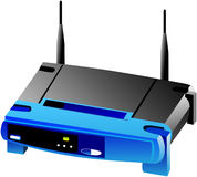 Wi-fi network router. Wireless home access point router with adsl gateway build-in vector illustration