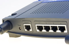 Wi-fi network router. Back panel of a wireless home access point  router with adsl gateway build-in Stock Photo