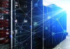 Wi-FI-Netzzusammenfassungsstruktur auf modernem Serverraumhintergrund Lizenzfreie Stockfotos