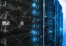 Wi-FI-Netzzusammenfassungsstruktur auf modernem Serverraumhintergrund Stockbilder