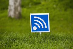 Wi - fi outdoors in wood. Wireless network of data transfer of wi - fi outdoors Stock Photo