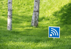 Wi - fi outdoors in wood. Wireless network of data transfer of wi - fi outdoors Royalty Free Stock Images