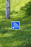 Wi - fi outdoors in wood. Wireless network of data transfer of wi - fi outdoors Royalty Free Stock Photos