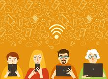 Wi-fi poster with people Royalty Free Stock Photography