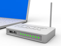 Wi-Fi router and laptop. Wi-Fi router and laptop on white background. 3D illustration Royalty Free Stock Photo