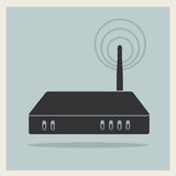 Wi-Fi Router on Retro Background Vector. Wi-Fi Router on Blue Retro Background Vector Royalty Free Stock Photo