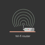 Wi-fi router vector illustration. Wi-fi router standing on table flat design icon concept. Isolated on black background. Close-up illustration with signal waves Royalty Free Stock Images
