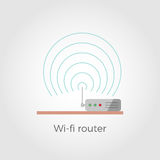 Wi-fi router vector illustration. Wi-fi router standing on table flat design icon concept. Isolated on white background. Close-up illustration with signal waves stock illustration