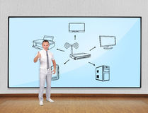 Wi-fi scheme. Young businessman showing thumb up and screen with wi-fi scheme stock images
