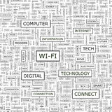WI-FI. Seamless pattern. Word cloud illustration Stock Photos