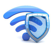 Wi-fi and shield Stock Image