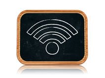 Wi-Fi sign. 3d blackboard banner with chalk Wi-Fi sign royalty free stock photography
