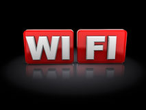 Wi-fi sign. 3d illustration of wi-fi sign over black background Royalty Free Stock Photo
