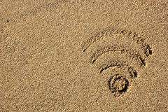 Wi fi sign drawn in the sand Royalty Free Stock Photos