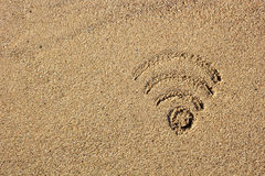 Wi fi sign drawn in the sand Stock Photos