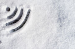 Wi Fi sign drawn in the snow Royalty Free Stock Photography