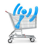 Wi-fi sign in shopping cart Royalty Free Stock Photos