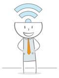 Wi-Fi Stickman Immagine Stock