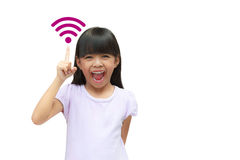 Wi-Fi Symbol. Little girl with wi-fi symbol, Isolated on white stock photo