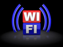 Wi-fi symbol. 3d illustration of wi-fi symbol over black background Stock Photography