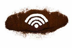 'Wi-FI' symbol from coffee. On white isolated background Stock Images