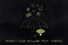 Wi-fi symbol covered by an umbrella with malware threats above. Protect your network from threats concept: wi-fi symbol covered by an umbrella with malware Stock Image