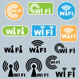 Wi-fi symbols. Set of various and new wi-fi symbols/logos isolated on grey background. EPS file available Royalty Free Stock Images